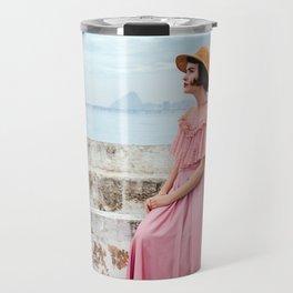 Woman in pink Travel Mug