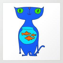This Cat Eats . . . Goldfish Art Print