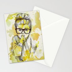 Silent girl by carographic Stationery Cards