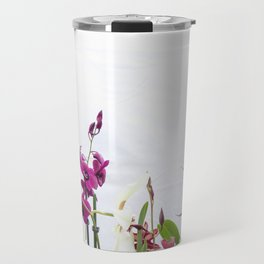 Different orchid plants on white background Travel Mug
