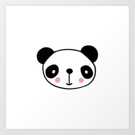 Cute Panda Head In Black And White Art Print