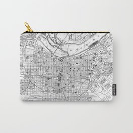 Vintage Map of Louisville Kentucky (1873) BW Carry-All Pouch
