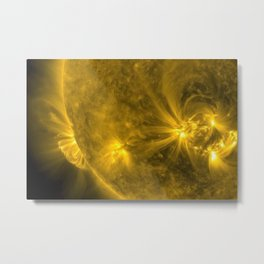 Solar Flares & Explosions on the Surface of the Sun captured by NASA telescopes color photography Metal Print