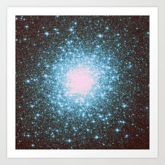 Teal Galaxy Stars Art Print