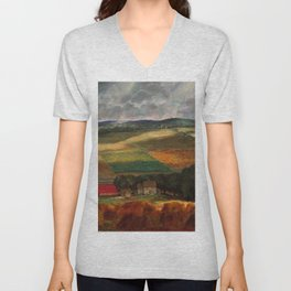 Classical Masterpiece 'Wisconsin Landscape II' by John Steuart Curry Unisex V-Neck