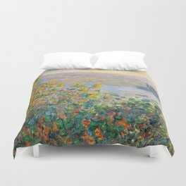1881-Claude Monet-Flower Beds at Vétheuil-73 x 92 Duvet Cover