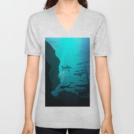 Beautiful coral reef and silhouettes of diver and school of fish in a blue sea Unisex V-Neck