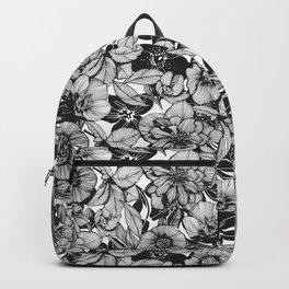 Hellebore lineart florals Backpack