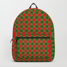 Large Red and Green Christmas Gingham Check Tartan Plaid Backpack
