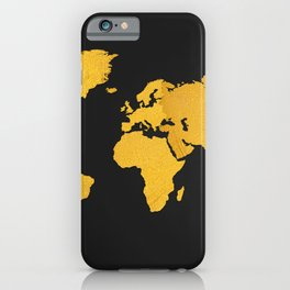 Golden World Map - Black Background iPhone Case