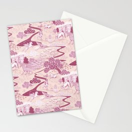 Mythical Creatures Toile in Peachy Pink Raspberry colors Stationery Cards