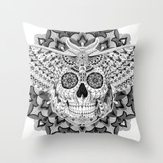Skull Moth Throw Pillow