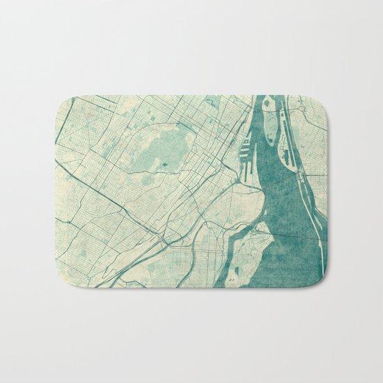 Montreal Map Blue Vintage Bath Mat