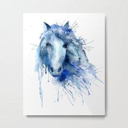 Watercolor Horse Portrait Paint Splatter Metal Print