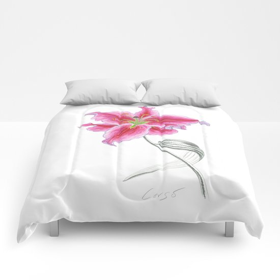 Lily 02 Botanical Flower * Pink Stargazer Rubrum Lily  Comforters