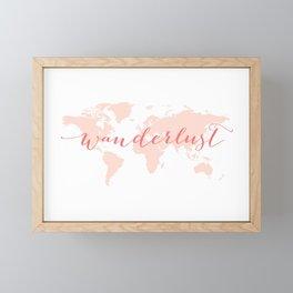 Wanderlust, coral world map Framed Mini Art Print