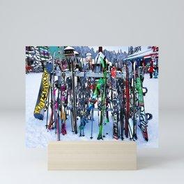 Ski Party - Skis and Poles Mini Art Print