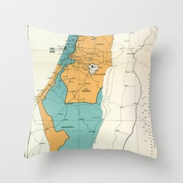 Map of Palestine Plan of Partition with Economic Union Throw Pillow