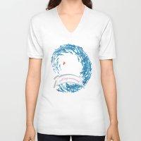 shabby chic V-neck T-shirts featuring just keep swimming.. shabby chic by studiomarshallarts