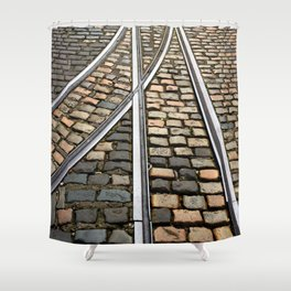 Rails and Cobbles Shower Curtain