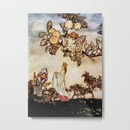 """A Dish of Apples"" Fairy Art by Arthur Rackham Metal Print"