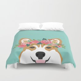 Corgi Portrait - dog with flower crown cute corgi dog art print Duvet Cover