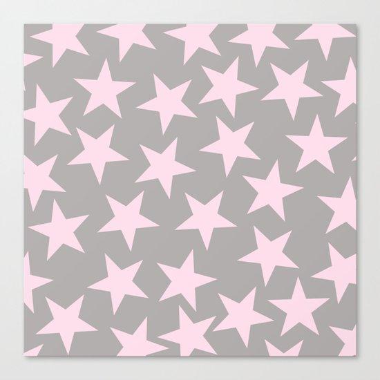 Pink stars on grey background on #Society6 Canvas Print