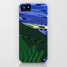 Striped landscap with stylised mountains, sea and yellow Sun. iPhone Case