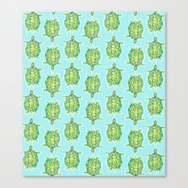 Tortoise Pattern with aqua background Canvas Print