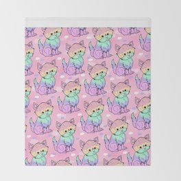 Rainbow Cats Throw Blanket