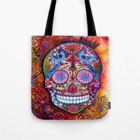 sugar skull Tote Bags featuring Sugar Skull by oxana zaika