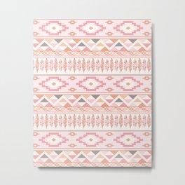 Pink Boho Tribal Aztec Metal Print