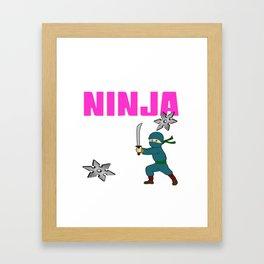 Birthday Ninja Party Samurai Ninjas Gift Japanese Ninja stars Fighter Gift 6th Framed Art Print