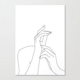 Hands line drawing illustration - Eva Canvas Print