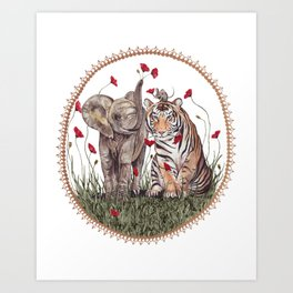 Tiger, Baby Elephant, and Mouse Playing in Poppies Art Print