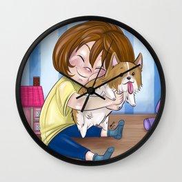 Corgi Hugs Wall Clock