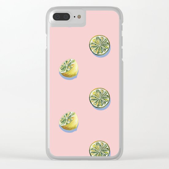 Lemon Pattern Clear iPhone Case