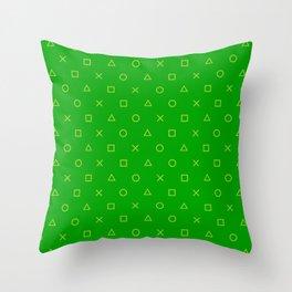 Green Gamer Pattern Throw Pillow
