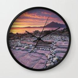 III - Spectacular sunset at the Elgol beach, Isle of Skye, Scotland Wall Clock