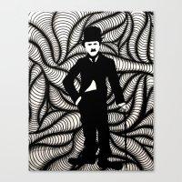 charlie chaplin Canvas Prints featuring Charlie Chaplin by Gabrielle Wall