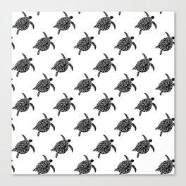 Linocut black and white turtle turtles ocean ocean life sealife pattern Canvas Print