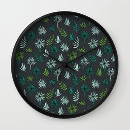 Palm tropical illustration by andrea lauren palm leaves palm trees desert island Wall Clock