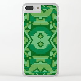 Geometric Aztec in Forest Green Clear iPhone Case