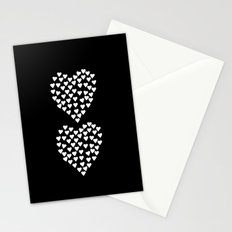 Hearts Heart x2 Black Stationery Cards