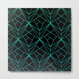 Geometric pattern black and green gradient Metal Print