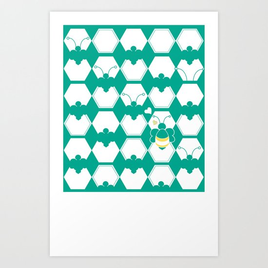 Honey Bee back to Nature with Love Art Print