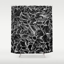 Hex & Swirl - Black and White Marble Pattern Shower Curtain