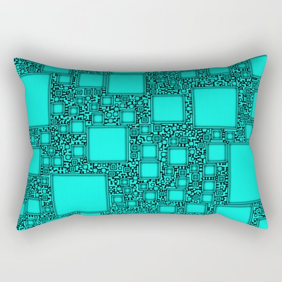 Electronics Blue Rectangular Pillow