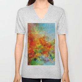Abstract and Minimalist Landscape Painting Unisex V-Neck