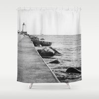 michigan Shower Curtains featuring Michigan Lighthouse by KimberosePhotography
